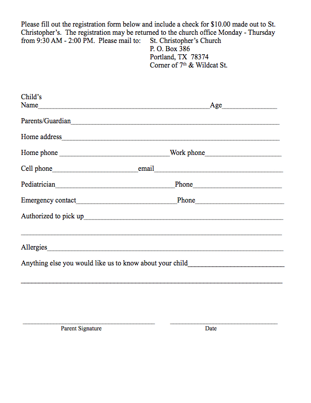 school registration forms template